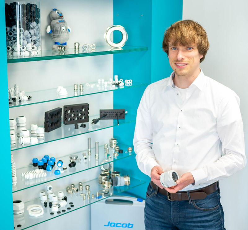 WKK employee with Jacob cable glands and accessories