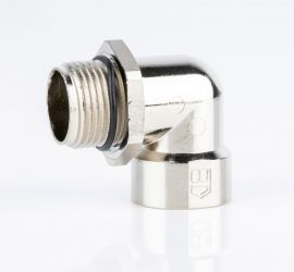 A zinc die-cast Jacob elbow 90°, with metric thread, on a white background.
